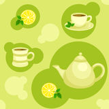 Seamless green pattern with teapot and cups. Vector illustration Royalty Free Stock Images