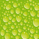 Seamless green pattern with water drops. Royalty Free Stock Photos