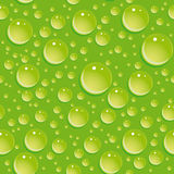 Seamless green pattern with water drops. Royalty Free Stock Images