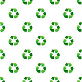 Seamless green recycle sign pattern on white Stock Image