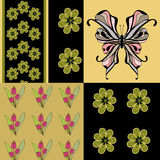 Seamless green retro colors butterfly pattern background Stock Photos