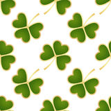 Seamless green shamrocks. Seamless pattern made from green shamrocks isolated on white background. Vector illustration Royalty Free Stock Image