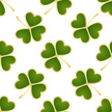 Seamless green shamrocks. Seamless pattern made from green shamrocks isolated on white background. Vector illustration Royalty Free Stock Images