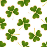 Seamless green shamrocks. Seamless pattern made from green shamrocks isolated on white background. Vector illustration Stock Photography