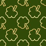Seamless green shamrocks. Seamless pattern made from green shamrocks isolated on white background. Vector illustration Stock Images