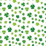 Seamless green shamrocks vector pattern or background. St. Patricks Day texture Royalty Free Stock Photography