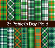 16 Seamless Green St. Patrick`s Day Plaid Royalty Free Stock Images