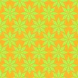 Seamless Green Stars Pattern on Yellow Backdrop Stock Photography
