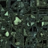 Seamless Green Techno Background Stock Photo