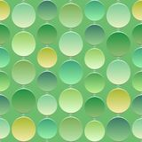Seamless green texture with a bright 3D circles of various light green. Emerald, lemon, lime, interconnected rings like curtain Stock Images