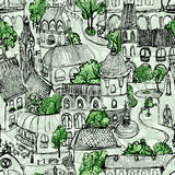 Seamless green town illustration. Seamless hand drawn illustration of old European town with green trees Stock Image