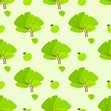 Seamless green tree floral pattern vector Royalty Free Stock Images