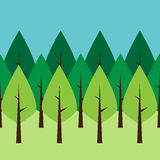 Seamless green trees Stock Photos