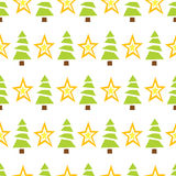 Seamless Green Trees and Stars Royalty Free Stock Images