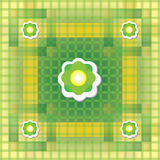 Seamless green and yellow pattern with flower Stock Photos