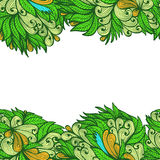 Seamless greenl hand drawn floral ornament Royalty Free Stock Image