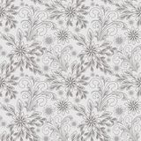 Seamless grey abstract Pattern with Flowers for Design Stock Photography