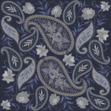 Seamless grey and blue pattern with paisley and flowers. Vector print . Stock Images