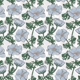 Seamless grey flowers pattern on white Royalty Free Stock Photo