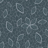 Seamless grey leaves wallpaper Royalty Free Stock Image