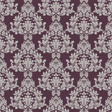 Seamless grey and purple floral wallpaper Stock Images