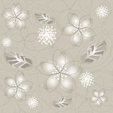 Seamless grey silver flower wallpaper Royalty Free Stock Images