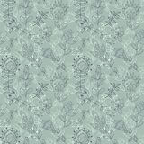 Seamless grey texture with flowers Stock Image