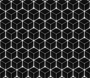 Seamless grid pattern of  three-dimensional cubes and small spheres in black and white Stock Image