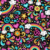 Seamless Groovy Rainbow Peace and Love Pattern Vec Stock Photo