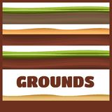 Seamless Grounds, Soil And Grass For Ui Game Illustration. Of a set of various seamless grounds, soils and land foreground area Royalty Free Stock Image