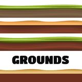 Seamless Grounds, Soil And Grass For Ui Game Illustration. Of a set of various seamless grounds, soils and land foreground area Stock Photos