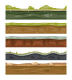 Seamless grounds soil and grass for ui game vector layers set. Cartoon endless level for gui with stone and green lawn illustration stock illustration