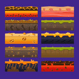 Seamless grounds, soils and land vector set for UI games. Vector Illustrations Royalty Free Stock Image