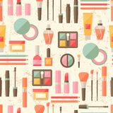 Seamless grunge background with cosmetics flat Royalty Free Stock Images