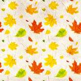 Seamless grunge background with flying autumn leaves Stock Photo