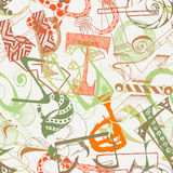 Seamless grunge doodle background. Hand drawn abstract letters. Stock Photos