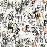 Seamless grunge doodle background. Hand drawn abstract letters. Stock Image