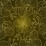 Seamless grunge floral orchid pattern Stock Photography