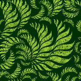 Seamless grunge floral pattern. Seamless green floral pattern with twirled grunge fern leafs (From my big Seamless collection Royalty Free Stock Photography