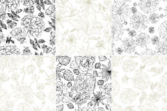 Seamless grunge floral patterns Royalty Free Stock Image