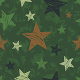 seamless grunge military pattern with stars Stock Photos