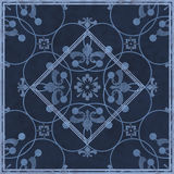 Seamless  grunge ornamental pattern on blue  background Royalty Free Stock Image