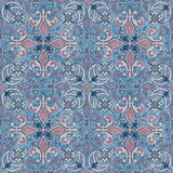 Seamless  grunge ornamental pattern on blue background Royalty Free Stock Images