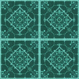 Seamless  grunge ornamental pattern on green background Stock Photo