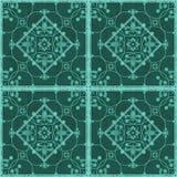 Seamless  grunge ornamental pattern on green background Stock Photo
