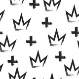 Seamless grunge pattern with crowns and crosses painted by brush. Royalty Free Stock Photo