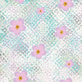 Seamless grunge stained glass pattern with abstract flowers Royalty Free Stock Photos