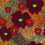 Seamless grunge striped diagonal pattern with floral applique of red poppies Stock Images