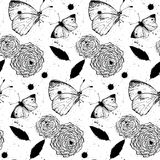 Seamless grunge texture with roses and butterflies Stock Photo