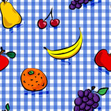 Seamless grungy fruits over blue gingham pattern. Seamless collection of grungy, crude, rough outline hand drawn fruits with shadows over blue gingham pattern Stock Photo